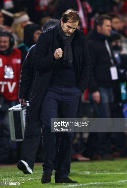 Head coach Thomas Tuchel of Mainz celebrates after the Bundesliga match between FSV Mainz 05 and FC Bayern Muenchen at Coface Arena on November 27...