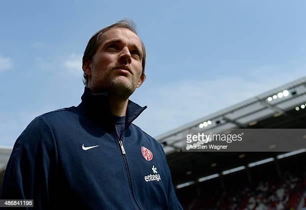 Head coach Thomas Tuchel of Mainz looks on prior to the Bundesliga match between FSV Mainz 05 and 1.FC Nuernberg at Coface Arena on April 26, 2014 in...