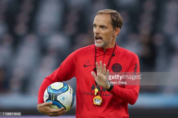 Head coach Thomas Tuchel of Paris SaintGermain gestures during the training session ahead of the French Trophy of Champions football match between...