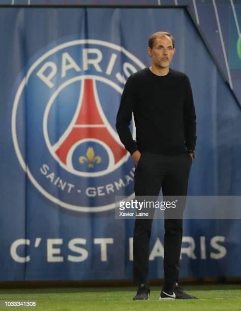 Head coach Thomas Tuchel of Paris SaintGermain in action during the French Ligue 1 match between Paris Saint Germain and AS Saint Etienne on...