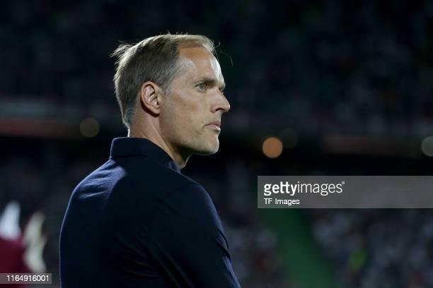 head coach Thomas Tuchel of Paris SaintGermain looks on during the Ligue 1 match between FC Metz and Paris SaintGermain at Stade SaintSymphorien on...