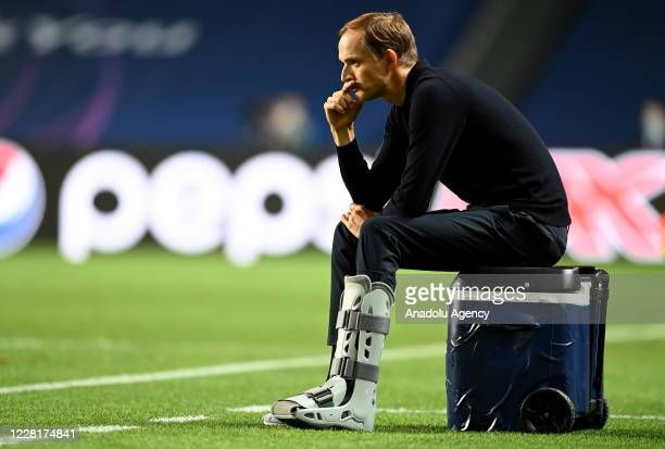 Head coach Thomas Tuchel of PSG gets upset at the end of the UEFA Champions League final football match between Paris Saint-Germain and Bayern Munich...