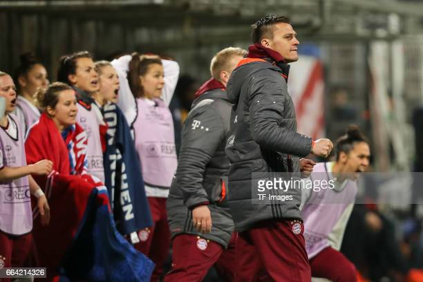 Head coach Thomas Woerle of Bayern Munich celebrate their win during the Champions League match between Bayern Munich and Paris Saint Germain at...