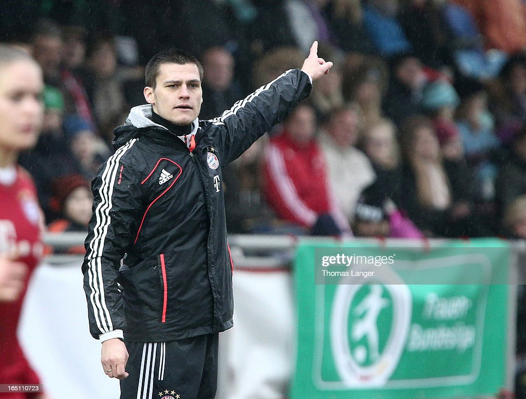 Head coach Thomas Woerle of Munich reacts during the Women's Soccer Bundesliga Match between Bayern Muenchen and 1. FFC Turbine Potsdam on March 30, 2012 in Aschheim, Germany.