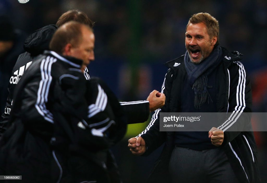 Head coach Thorsten Fink (R) of Hamburg celebrates after the Bundesliga match between Hamburger SV and 1. FSV Mainz 05 at Imtech Arena on November 17, 2012 in Hamburg, Germany.