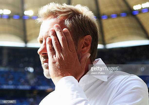 Head coach Thorsten Fink of Hamburg gestures prior to the Bundesliga match between Hamburger SV and 1 FC Nuernberg at Imtech Arena on August 25 2012...