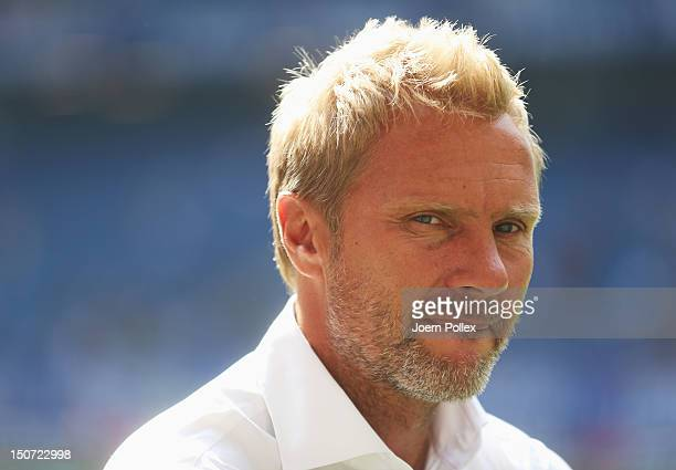 Head coach Thorsten Fink of Hamburg is seen prior to the Bundesliga match between Hamburger SV and 1 FC Nuernberg at Imtech Arena on August 25 2012...