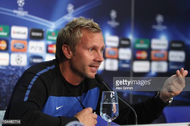 Head coach Thorsten Fink talks to media during the press conference of FC Basel at the St Jakob Park stadium ahead of their Champions League first...