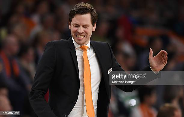 Head coach Thorsten Leibenath of Ulm gestures during the Beko Basketball Bundesliga match between Ratiopharm Ulm and Alba Berlin at ratiopharm Arena...
