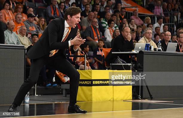 Head coach Thorsten Leibenath of Ulm gestures during the Beko Basketball Bundesliga match between Ratiopharm Ulm and Alba Berlin at ratiopharm Arena...