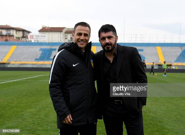 Head coach Tianjin Quanjian Fabio Cannavaro and head coach AC Pisa Gennaro Gattuso pose for a photo prior to the friendly match between AC Pisa and...