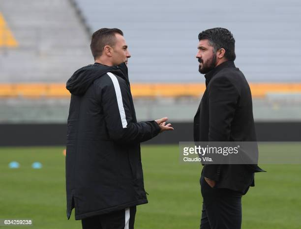 Head coach Tianjin Quanjian Fabio Cannavaro and head coach AC Pisa Gennaro Gattuso chat prior to the friendly match between AC Pisa and Tianjin...