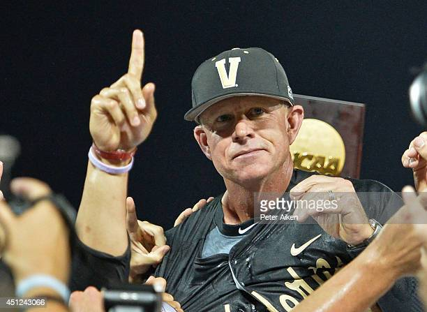 Head coach Tim Corbin of dthe Vanderbilt Commodores celebrates after beating the Virginia Cavaliers 32 to win the College World Series Championship...