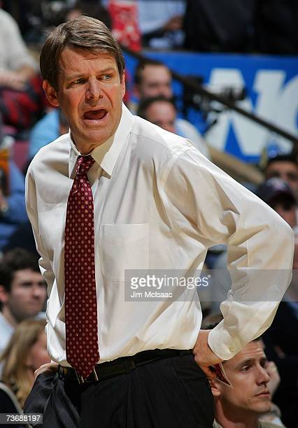 Head Coach Tim Floyd of the University of Southern California reacts from the sideline against the University of North Carolina Tar Heels during the...