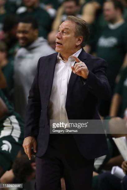 Head coach Tim Izzo of the Michigan State Spartans reacts on the bench while playing the Nebraska Cornhuskers at Breslin Center on March 05 2019 in...