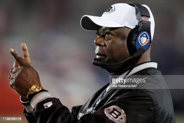 Head coach Tim Lewis of the Birmingham Iron looks on during the game against the Memphis Express at Liberty Bowl Memorial Stadium on March 24 2019 in...