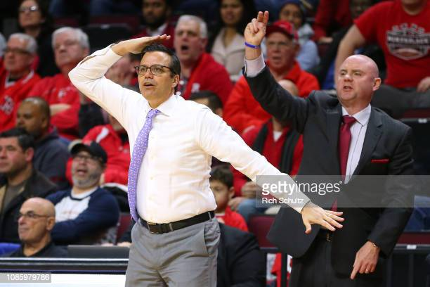 Head coach Tim Miles of the Nebraska Cornhuskers calls a play during the second half of a game against the Rutgers Scarlet Knights at Rutgers...