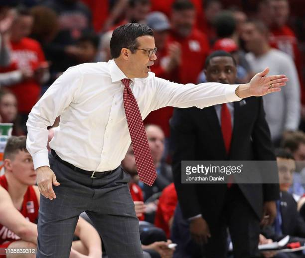 Head coach Tim Miles of the Nebraska Cornhuskers gives instructions to his team against the Maryland Terrapins at the United Center on March 14 2019...