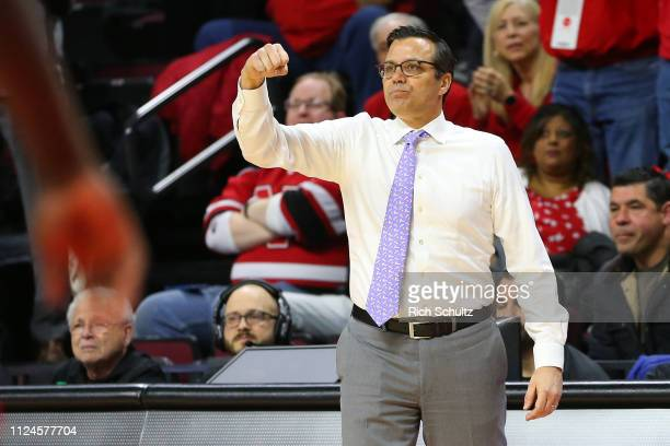Head coach Tim Miles of the Nebraska Cornhuskers in action against the Rutgers Scarlet Knights during a game at Rutgers Athletic Center on January 21...