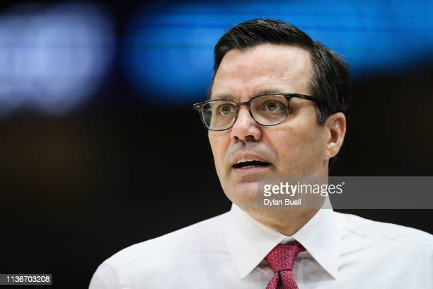 Head coach Tim Miles of the Nebraska Cornhuskers looks on in the first half against the Wisconsin Badgers during the quarterfinals of the Big Ten...
