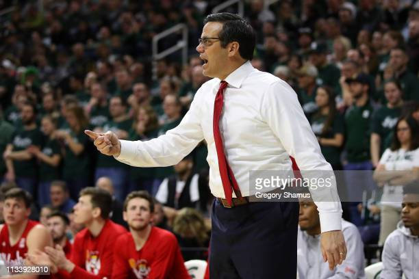 Head coach Tim Miles of the Nebraska Cornhuskers reacts on the bench while playing the Michigan State Spartans at Breslin Center on March 05 2019 in...