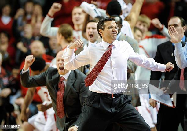 Head coach Tim Miles of the Nebraska Cornhuskers reacts to a play during a game against the Ohio State Buckeyesat Pinnacle Bank Arena on January 20...