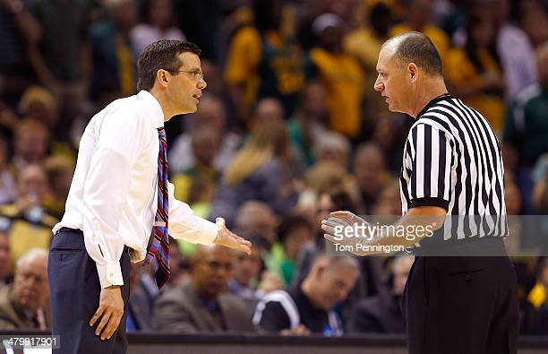 Head coach Tim Miles of the Nebraska Cornhuskers talks to an official after receiving his second technical foul in the second half against the Baylor...