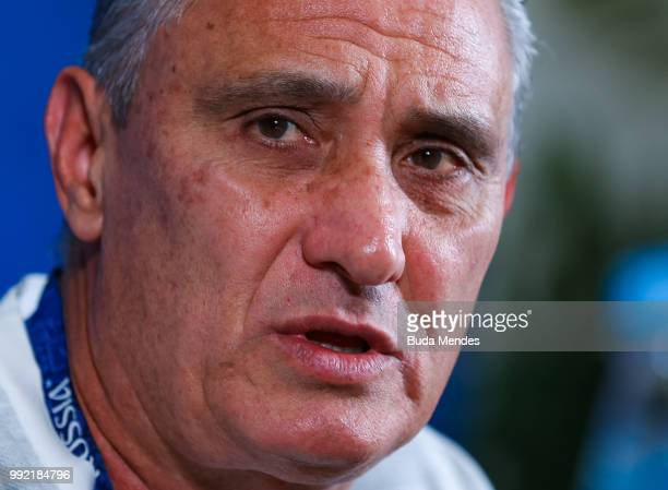 Head coach Tite attends the media during a Brazil press conference ahead of the the 2018 FIFA World Cup Russia Quarter Final match between Brazil and...