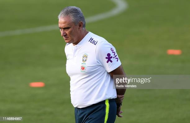 Head coach Tite looks on during a training session of the Brazilian national football team at the squad's Granja Comary training complex on May 29,...