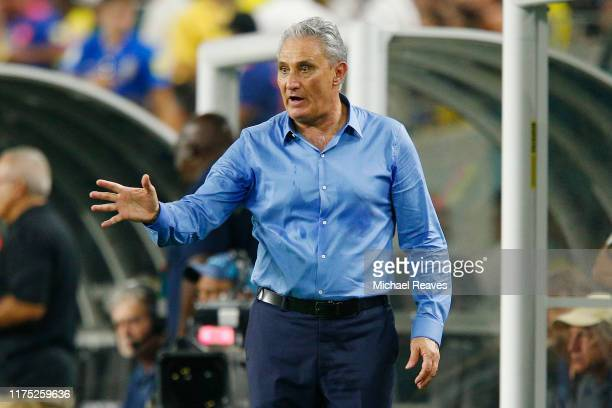 Head coach Tite of Brazil directs the team against Colombia during the International Friendly soccer match at Hard Rock Stadium on September 06, 2019...