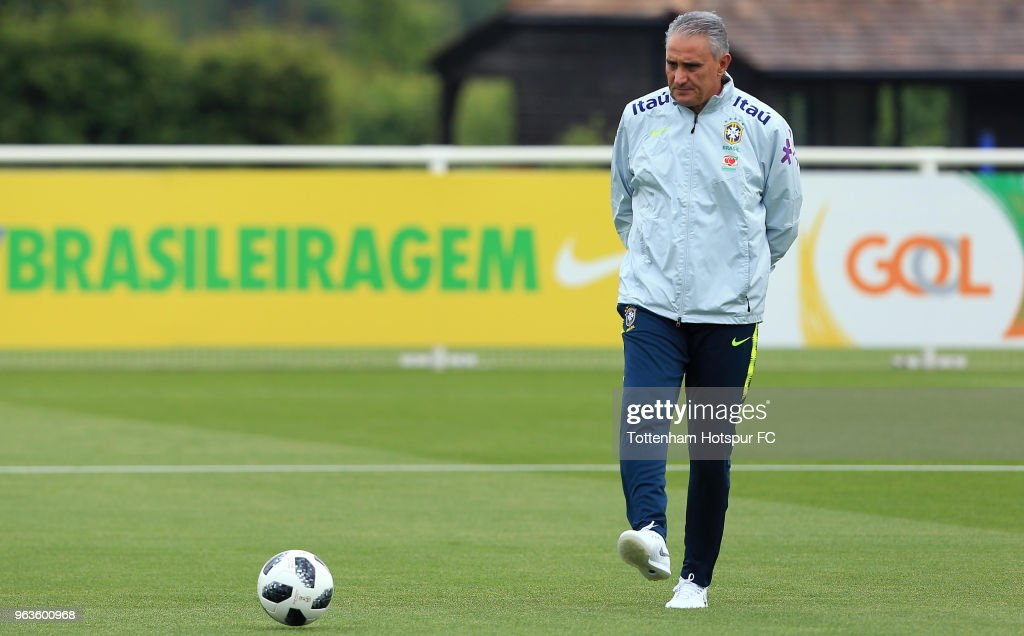 Head Coach Tite of Brazil during a Brazil Training Session at Tottenham Hotspur Training Centre on May 29, 2018 in Enfield, England.