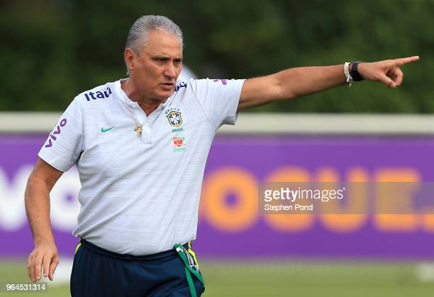 Head Coach Tite of Brazil during a Brazil training session at Tottenham Hotspur Training Centre on May 31 2018 in Enfield England