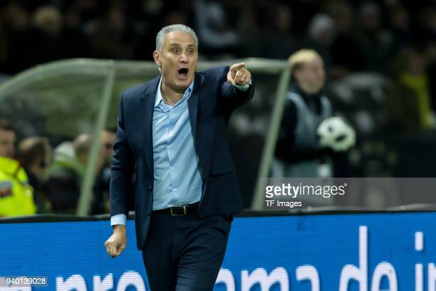 Head coach Tite of Brazil gestures during the international friendly match between Germany and Brazil at Olympiastadion on March 27 2018 in Berlin...