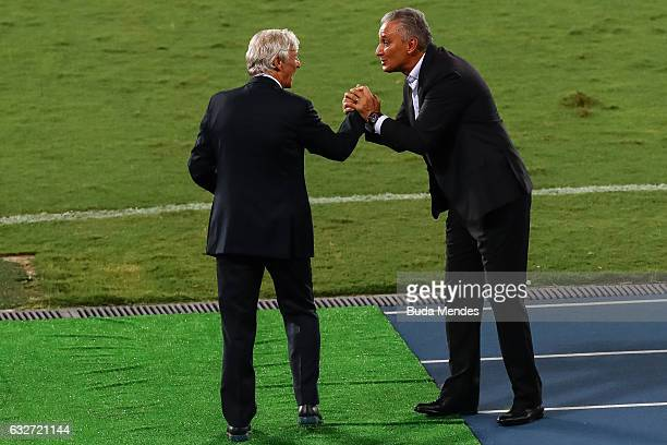 Head coach Tite of Brazil greets head coach Jose Pekerman of Colombia during a match between Brazil and Colombia as part of Friendly Match In Memory...