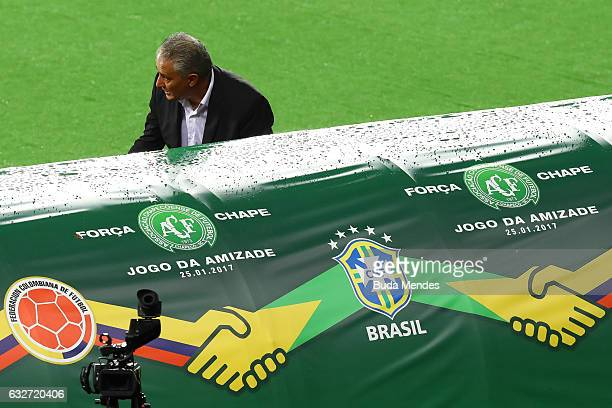 Head coach Tite of Brazil in action during a match between Brazil and Colombia as part of Friendly Match In Memory of Associacao Chapecoense de...