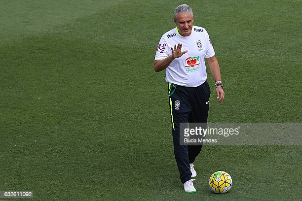 Head coach Tite of Brazil in action during a training session at Engenhao Stadium on January 24 2017 in Rio de Janeiro Brazil