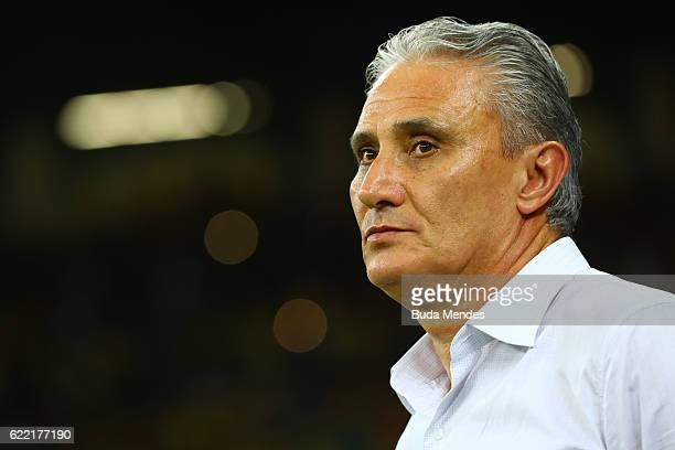 Head coach Tite of Brazil looks on before a match between Brazil and Argentina as part of 2018 FIFA World Cup Russia Qualifier at Mineirao stadium on...