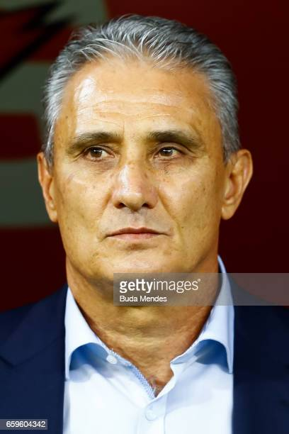 Head coach Tite of Brazil looks on before a match between Brazil and Paraguay as part of 2018 FIFA World Cup Russia Qualifier at Arena Corinthians on...