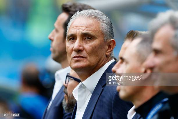 Head coach Tite of Brazil looks on prior to the 2018 FIFA World Cup Russia group E match between Brazil and Costa Rica at Saint Petersburg Stadium on...