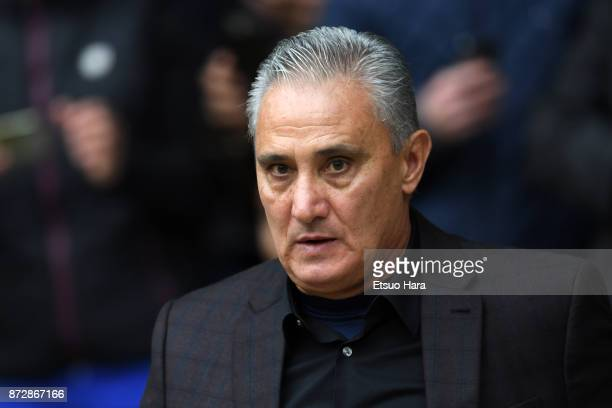 Head coach Tite of Brazil looks on prior to the international friendly match between Brazil and Japan at Stade PierreMauroy on November 10 2017 in...