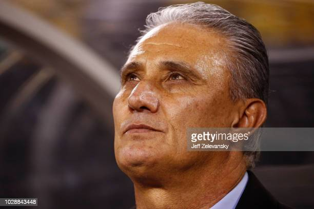 Head coach Tite of Brazil stands on the bench before their friendly match against USA at MetLife Stadium on September 7 2018 in East Rutherford New...
