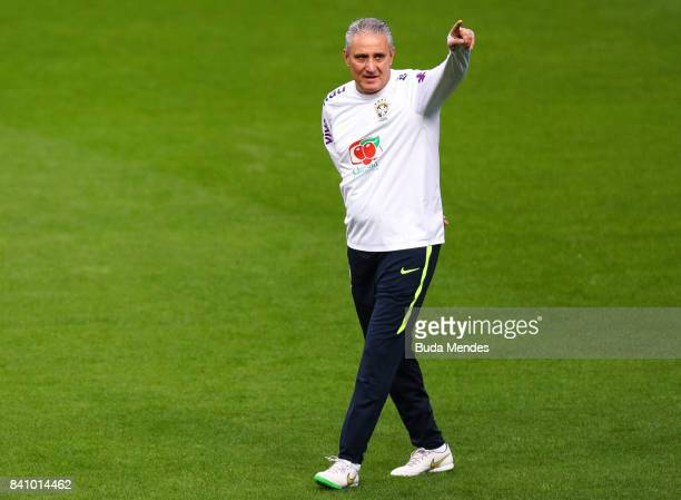 Head coach Tite takes part in a training session at the Arena do Gremio on August 30 2017 in Porto Alegre Brazil ahead of their 2018 FIFA World Cup...