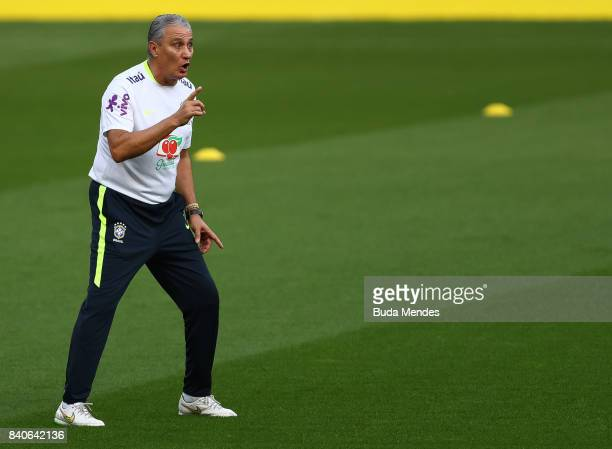 Head coach Tite takes part in a training session at the Beira Rio Stadium on August 29 2017 in Porto Alegre Brazil ahead of their 2018 FIFA World Cup...