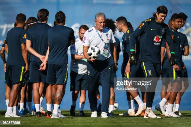 Head coach Tite talks with his players during a Brazil training session at YugSport Stadium on June 24 2018 in Sochi Russia
