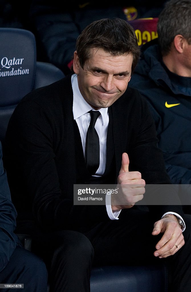 Head coach Tito Vilanova of FC Barcelona gives his thumbs up prior to the La Liga match between FC Barcelona and RCD Espanyol at Camp Nou on January 6, 2013 in Barcelona, Spain.