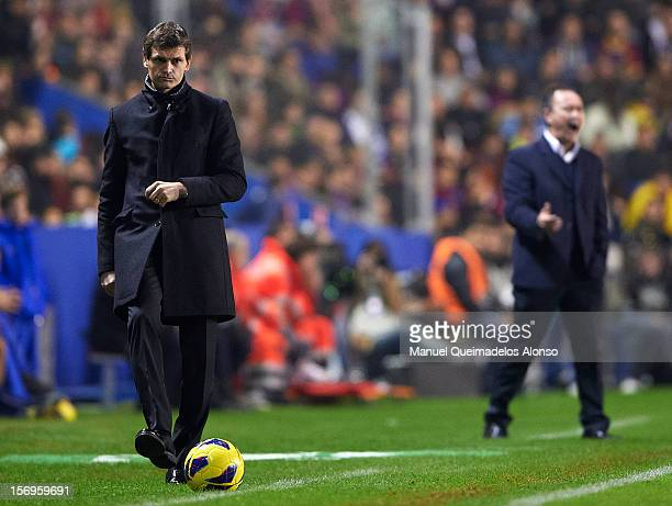 Head coach Tito Vilanova of FC Barcelona kicks the ball during the la Liga match between Levante UD and FC Barcelona at Ciutat de Valencia on...