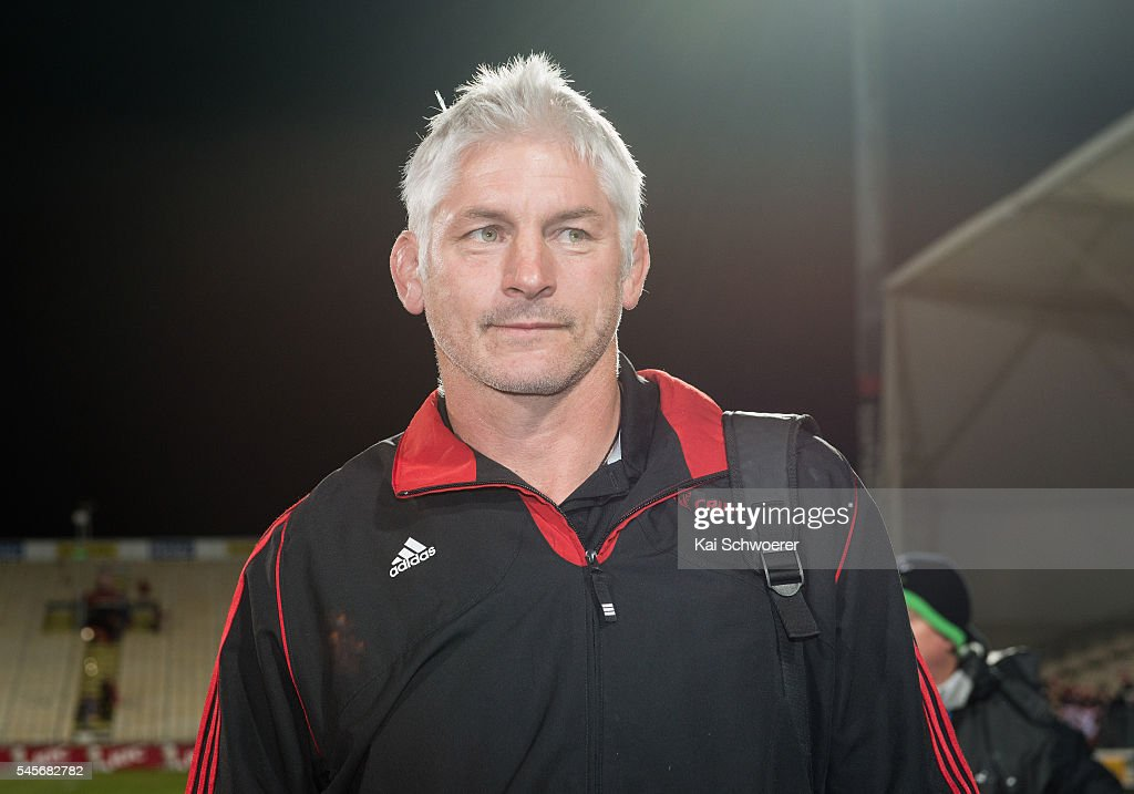 Head Coach Todd Blackadder of the Crusaders looks on following the round 16 Super Rugby match between the Crusaders and the Rebels at AMI Stadium on July 9, 2016 in Christchurch, New Zealand.