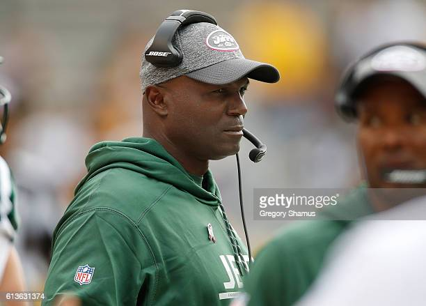 Head coach Todd Bowles looks on during the second half while playing the Pittsburgh Steelers at Heinz Field on October 9 2016 in Pittsburgh...
