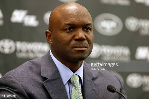 Head coach Todd Bowles of the New York Jets addresses the media during a press conference on January 21 2015 in Florham Park New Jersey Bowles and...