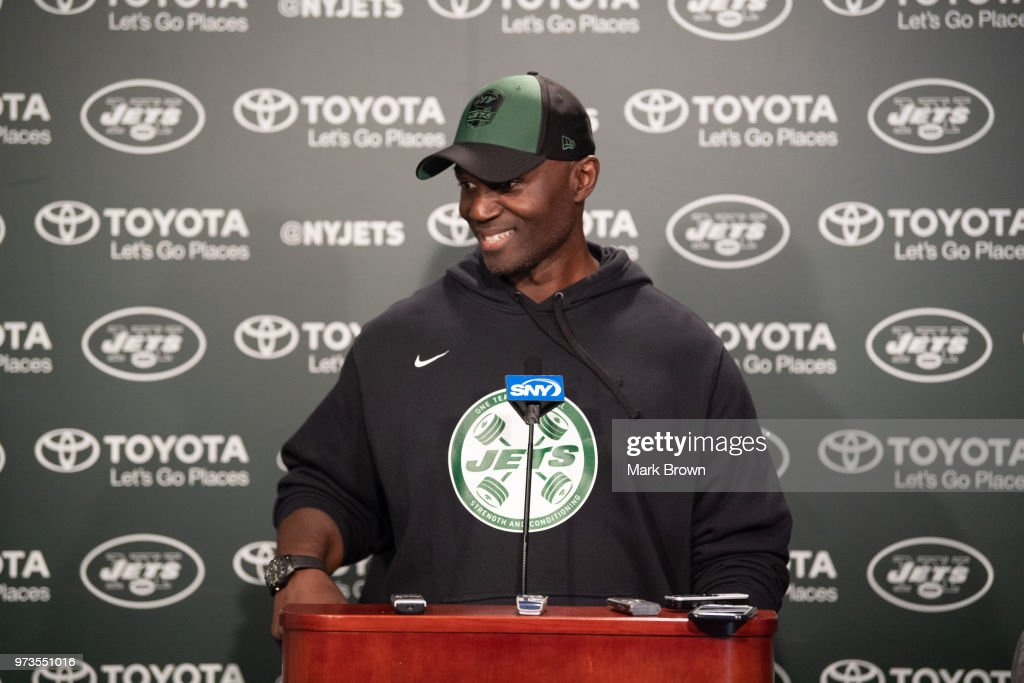 Head coach Todd Bowles of the New York Jets addresses the media after day two of mandatory mini camp on June 13, 2018 at The Atlantic Health Jets Training Center in Florham Park, New Jersey.